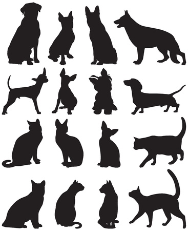 Vector set of silhouettes of cats and dogs
