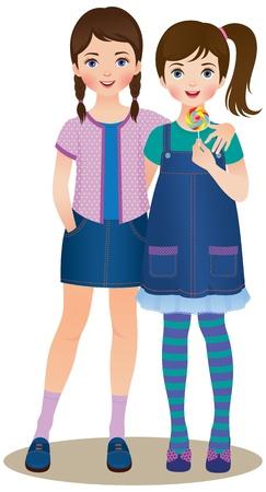 Vector illustration friendship teenage girls