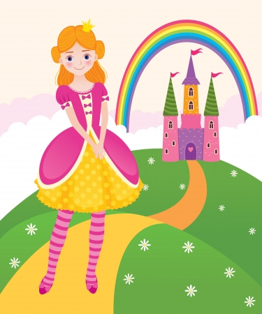 Vector illustration of a little princess in the kingdom Vector