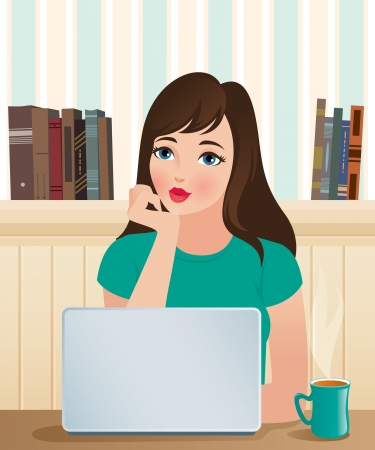 woman laptop:  illustration  A beautiful girl and laptop