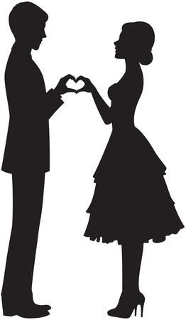 siluetas de enamorados: silueta de la novia y el novio tomados de la mano Vectores