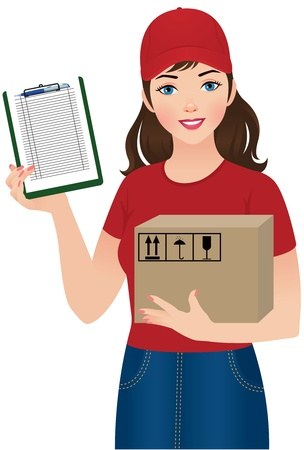 illustration  A young woman courier delivery services 일러스트