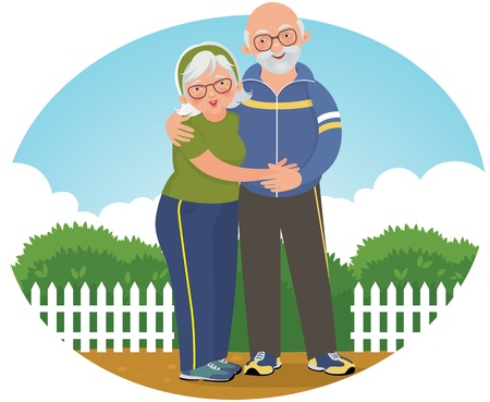 illustration of an elderly couple in sports suits