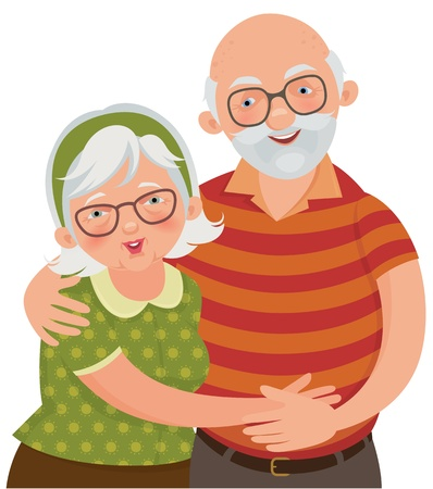 old wife: illustration of a loving elderly couple