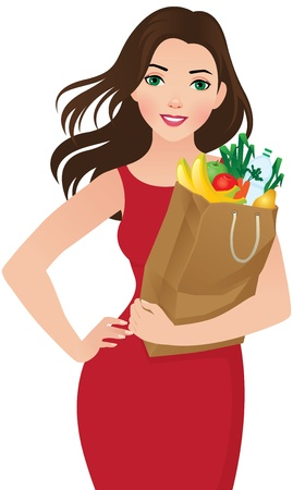 healthy woman white background: illustration of a young woman holding a bag of groceries Illustration