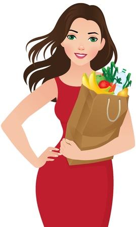 mujer en el supermercado: Ilustración de una mujer joven con una bolsa de la compra