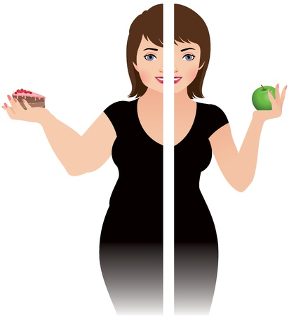 waist weight: illustration of a girl before and after diet