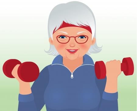 Vector illustratie bejaarde vrouw in sportkleding met een halter