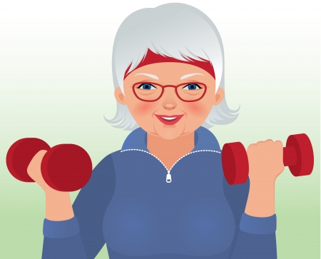 attractiveness: Vector illustration elderly woman in sportswear holding a dumbbell