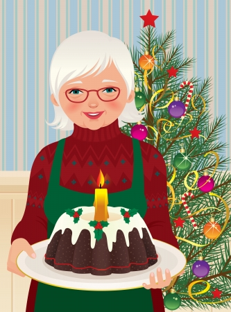 Vector illustration of an elderly housewife baked a Christmas cake Vector