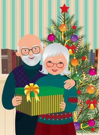 happy older couple: Vector illustration of elderly couple celebrating Christmas at home Illustration