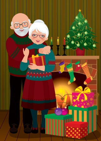 christmas fireplace: Vector illustration of an elderly couple in the living room on the eve of Christmas