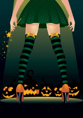 stripper: Vector illustration of a witch stripper Illustration