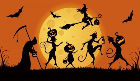 backlit: Vector illustration of procession monsters on Halloween night Illustration