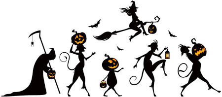 backlit: Vector silhouettes of a parade on Halloween