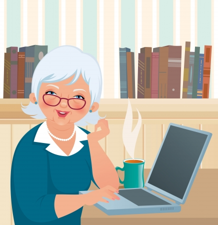 An elderly woman smiles at the camera while sitting at a laptop Illustration