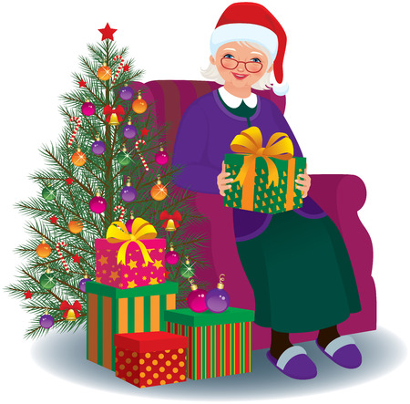 Elderly woman sitting in a chair with Christmas present in hands Vector