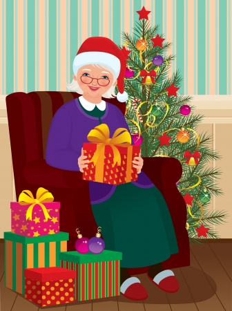 Grandmother receiving Christmas presents Vector