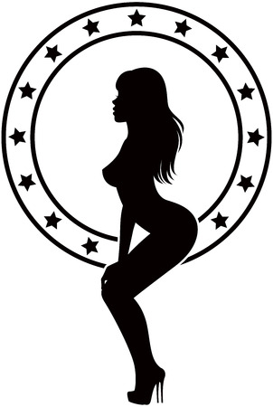 Black silhouette on a white background girl stripper Vector