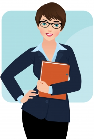 Business woman with a folder for papers
