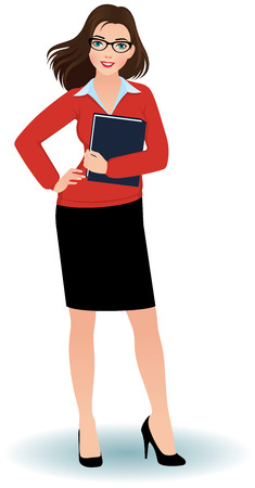 confident woman: Business woman with a folder for papers