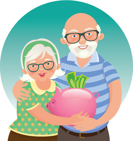 couple embrace: Stock illustration Elderly couple retired