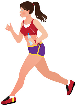 Illustration of a beautiful young woman athlete Ilustração