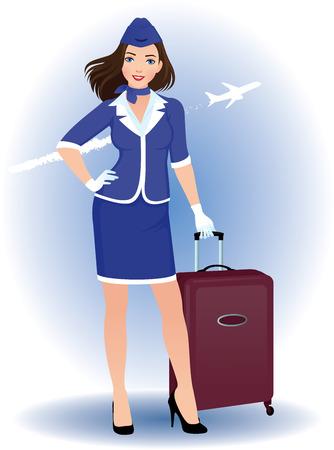 Illustration d'une jeune femme hôtesse de l'air avec des bagages Banque d'images - 26559775