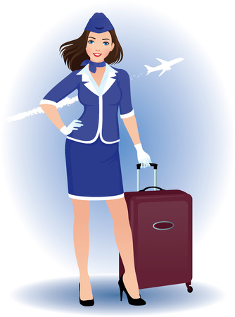 Illustration of a young woman stewardess with luggage Illustration