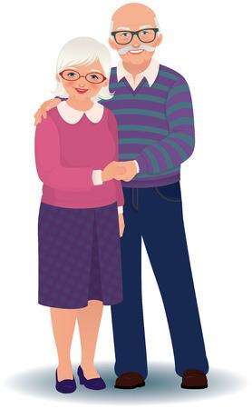 mujeres ancianas: Ilustración vectorial de una pareja de ancianos cariñosa