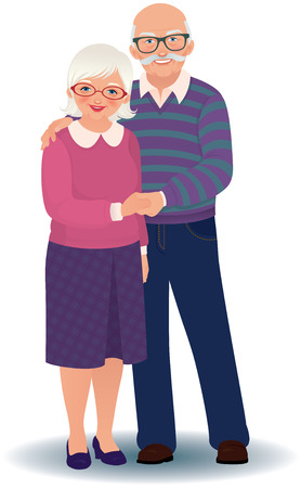 old wife: Vector illustration of a loving elderly couple Illustration