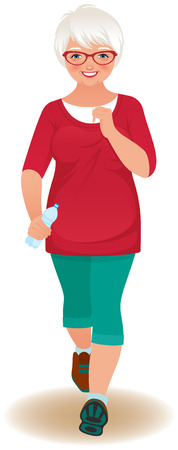 Illustration of an elderly woman in a tracksuit jogs Vector