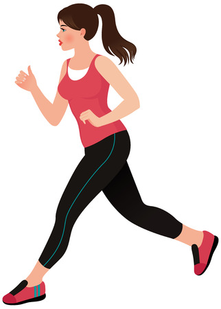 Stock illustration of a pretty young woman doing jogging