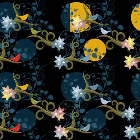 Birds in night garden seamless pattern in four color variations Vector