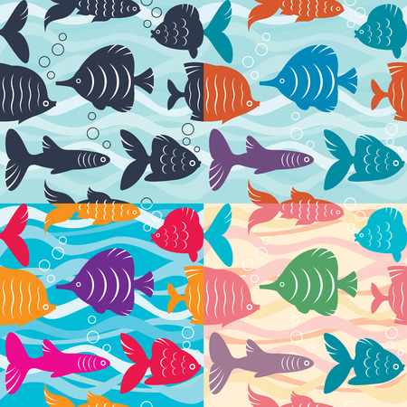 Seamless pattern in four color variations Vector