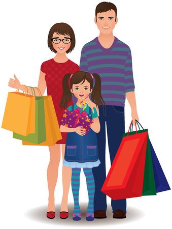 Glückliche Familie und Kinder einkaufen