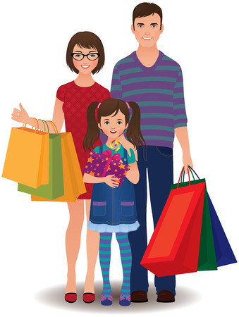 happy shopper: Happy family and children shopping Illustration
