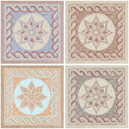 mosaic floor: Mosaic tiles in antique style Illustration