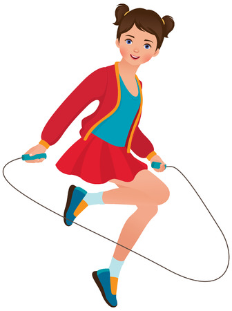 Illustration on white background little girl playing with a skipping rope