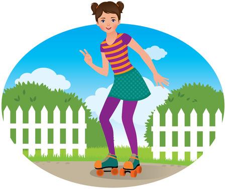 roller skates: Cute teen girl on roller skates