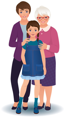 Three women  grandmother, mother and granddaughter Vector