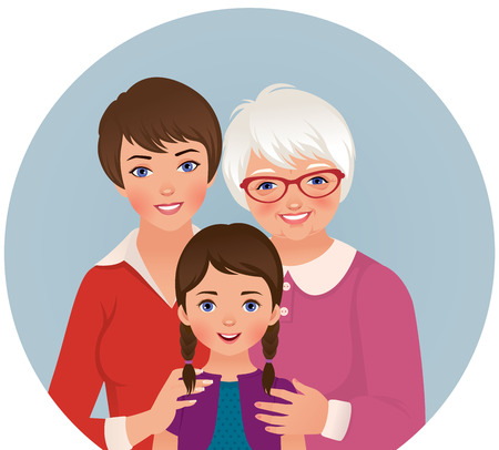 mother s: Stock illustration of three generations of women