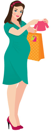 Illustration a pregnant woman buying baby clothes Vector