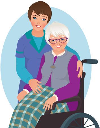 enfermo: La mujer mayor en una silla y la enfermera Vectores