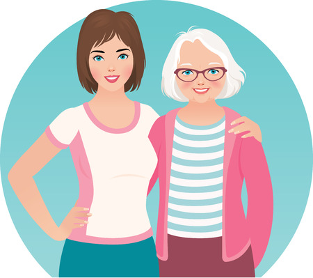 abuela: Hija adulta y anciana madre están adoptando Vectores