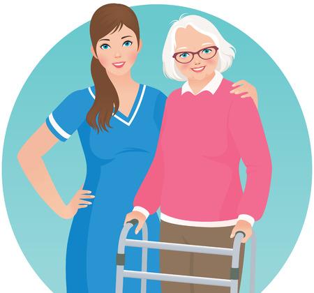 Illustratie van een oudere verpleeghuis patiënt en verpleegkundige