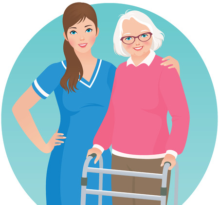 Illustration of an elderly nursing home patient and nurse Иллюстрация
