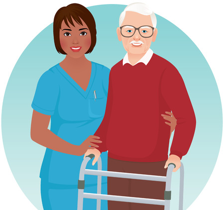 African American nurse helps elderly patient with a walker