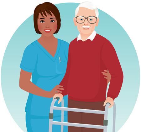 African American verpleegkundige helpt oudere patiënt met een rollator
