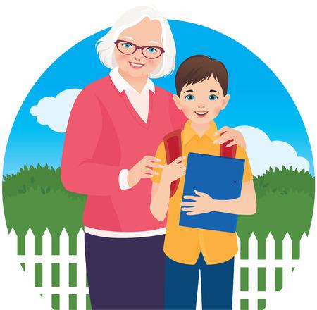 Elderly grandmother and her grandson schoolboy Vector